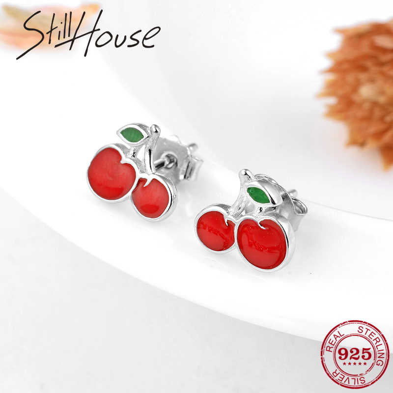 Delicious fruit Red Enamel Cherry 925 Sterling Silver Small Studs Earrings for Women DIY fine Silver Jewelry Valentine Day Party