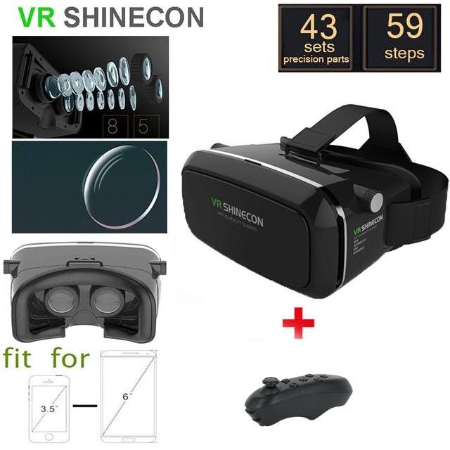 <font><b>New</b></font> <font><b>Shinecon</b></font> <font><b>VR</b></font> 2 Google cardboard <font><b>Glasses</b></font> <font><b>VR</b></font> BOX <font><b>Virtual</b></font> <font><b>Reality</b></font> 3D <font><b>VR</b></font> <font><b>Glasses</b></font> <font><b>VR</b></font> <font><b>Headset</b></font> Smartphone + Bluetooth Controller