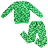 נערי ילדי Minecraft Teen ליל כל הקדושים תלבושות מצחיק הירוק קפוצ 'ון סווטשירט סתיו חליפה לילדים