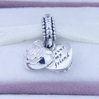 New 925 Sterling Silver Love Heart Rose Charms with Cz and Pink Enamel Jewelry Fit European pandora Style Bracelet & Necklace