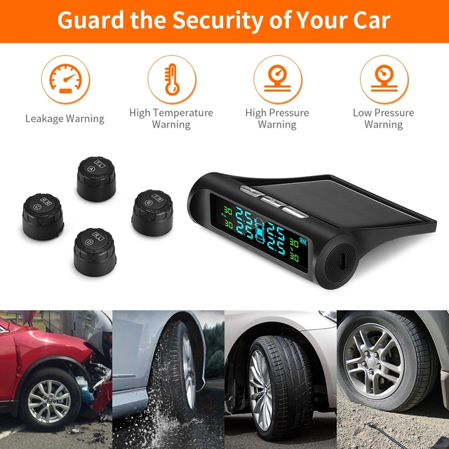 Solar Charging Car TPMS Tire Pressure Monitoring System HD Digital LCD Display Auto Alarms Wireless With 4 External Sensors TPMS