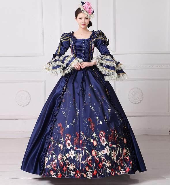 Online Shop Royal Blue Palace Catwalk Dance Costume Women Vintage ...