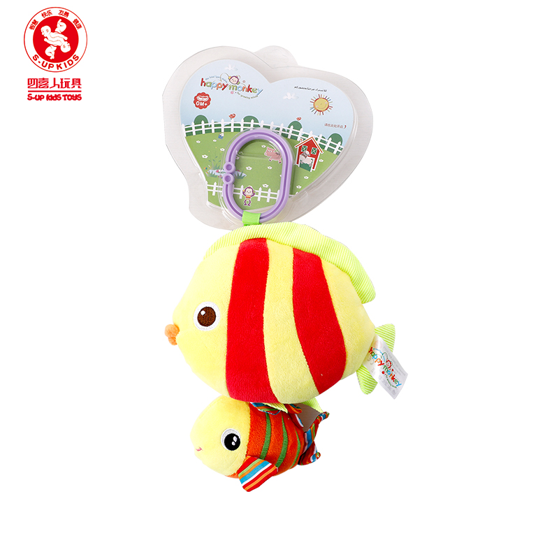 HAPPY MONKEY baby marine animal car bed hanging rattle bed bell plush doll pull music toy Sound toy toys for newborns