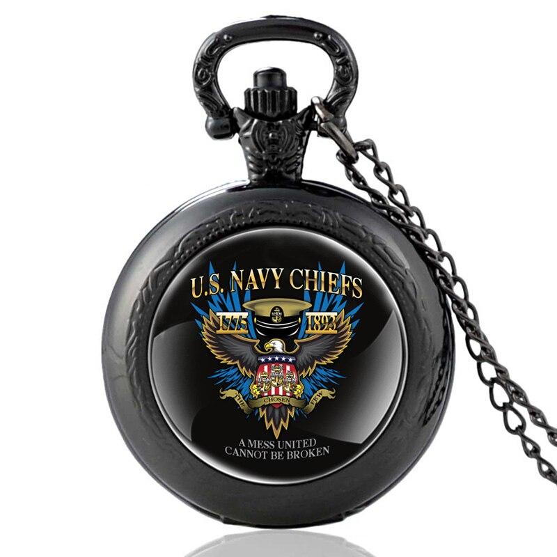 New Fashion US Navy Chiefs Black Quartz Pocket Watch Vintage Men Women Military  Pendant Necklace Watches Christmas Gifts