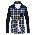 Мужские Рубашки Новая Коллекция Весна и Осень мужская Клетчатую Рубашку Случайные мужские Простой Нагрудные С Длинным Рукавом Рубашки Мужчины Рубашки 32cy