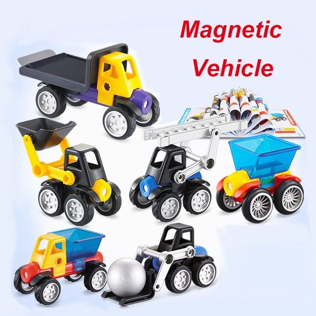 10-100Pcs Big Size Blocks Magnetic Designer Construction Vehicle 3D Model & Building Toy Plastic Balls Educational Toys Kid Gift