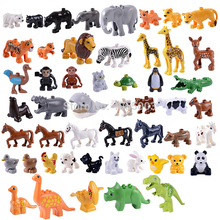 Legoings Duplo Animal Model Figures Big Blocks Elephant Lion Horse Building Blocks Kids Education Toy Legoing Friends Brinquedos(China)