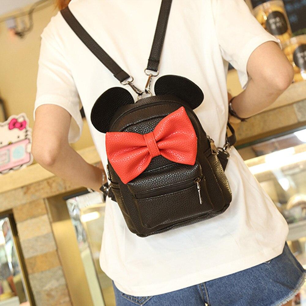 HTB1K8dyCpuWBuNjSszbq6AS7FXaY 2018 New Mickey Backpack Pu Leather Female Mini Bag Women's Backpack Sweet Bow Teen Girls Backpacks School Lady Bag Shoulder bag