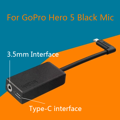3.5 Mm Microphone Adapter Cable For GoPro Hero 4 5 6 7 8 Session Mic Cable Type C Interface AAMIC-001 USB Camera New Accessories