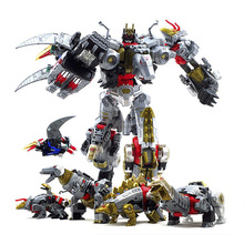 5 In 1 Dinobots Combiner Megazord Action Figure Transformation Grimlock Slag Snarl Sludge Swoop Dinobots Deformation Robot Toys in stock toy genuine version movie 4 leader class dinobots robot dinosaur tyrannosaurus grimlock with retail box