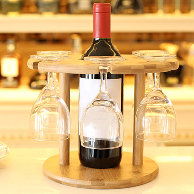 bamboo wine rack wine bottle holder glass cup holder wine stand hanging drinking glasses. Black Bedroom Furniture Sets. Home Design Ideas
