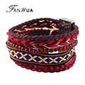 National Bohemia Style Indian Jewelry Pulseira Red Elastic Tibetan Handmade Wrap Bracelets Female Bangles New Bijoux Women