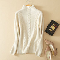 Luxury Autumn Winter Half Turtleneck Sweaters Pullover 100% Pure Cashmere Long Knitting Ribbed Thick Women Tops Ladies Jumpers