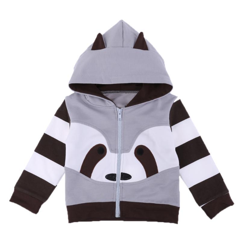 Повседневное одежда для малышей осень куртка с капюшоном пальто Обувь для мальчиков Обувь для девочек мультфильм енот полосатая куртка с к...