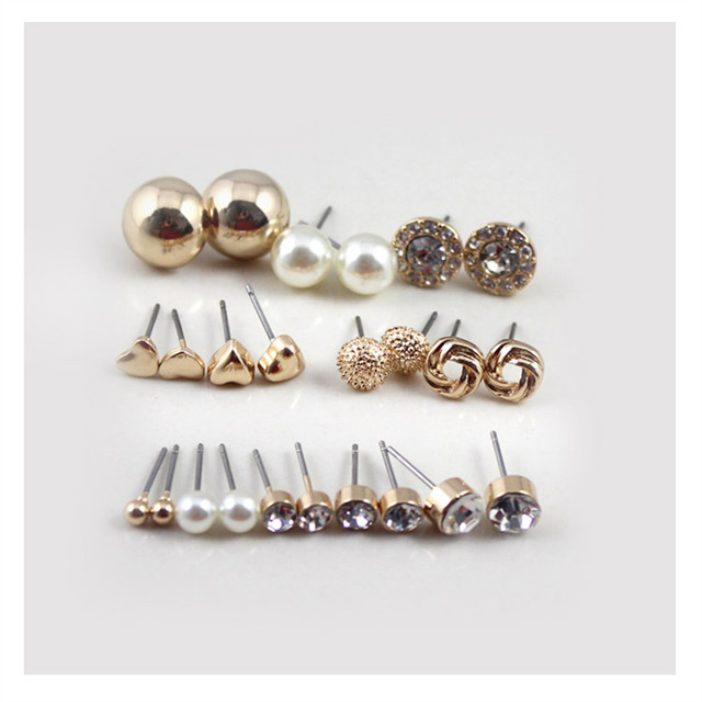 12 Pairs Round Square Ball Alloy Crystal Pearl Stud Earrings