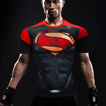 New Batman VS Superman 3D Printing T shirt Fitness Compression Shirt Men s Anime Super Hero