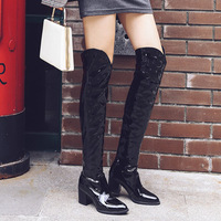 Women Pointed Toe Snake Shape Sexy Autumn Over The Knee Boots Female Slip On Fashion Stretch Plus Size Shoes Ladies High Heels