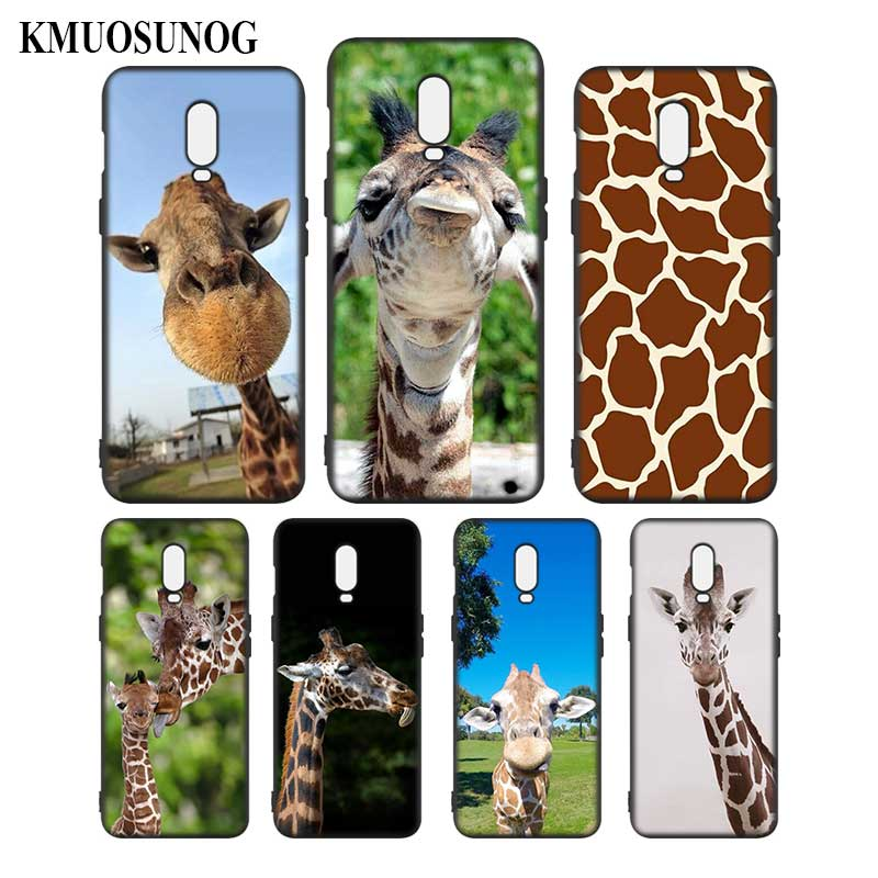 Silicone Case For OnePlus 5T 6 6T Printing Pattern Black Soft Silicone Phone Case Cute Animal giraffes Style in Fitted Cases from Cellphones Telecommunications