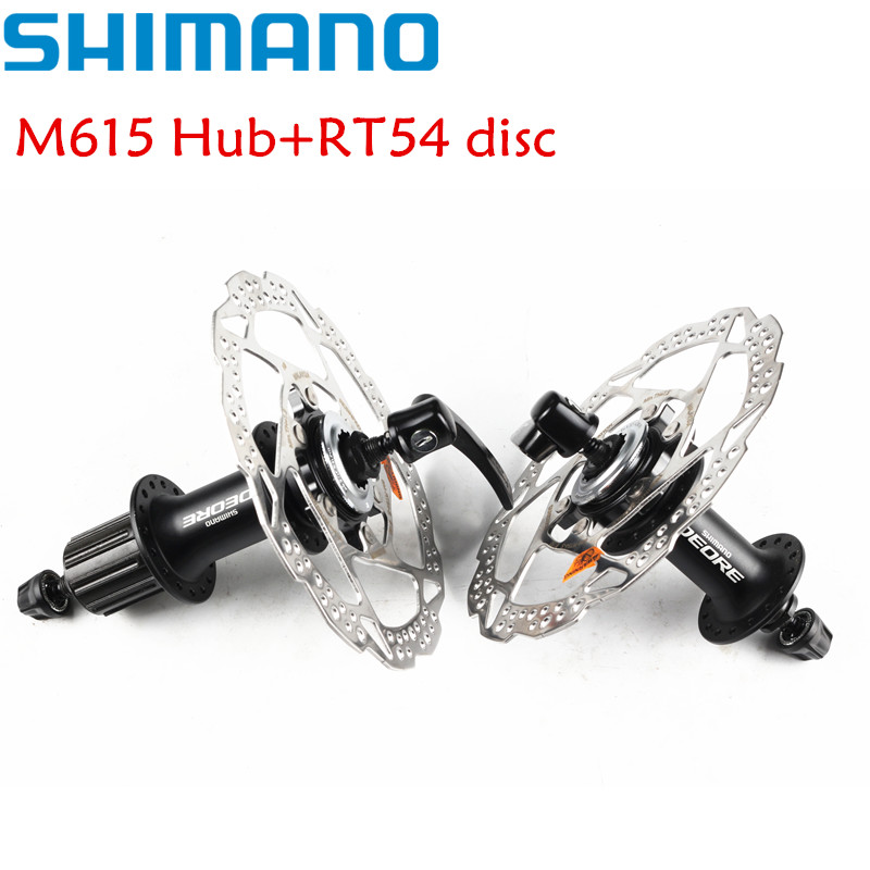 Shimano Deore M615 + 2 pièces RT54 160mm disque de verrouillage central rotor 32 trous ensemble de moyeu de disque avant et arrière QR Rotors de verrouillage central 10 s