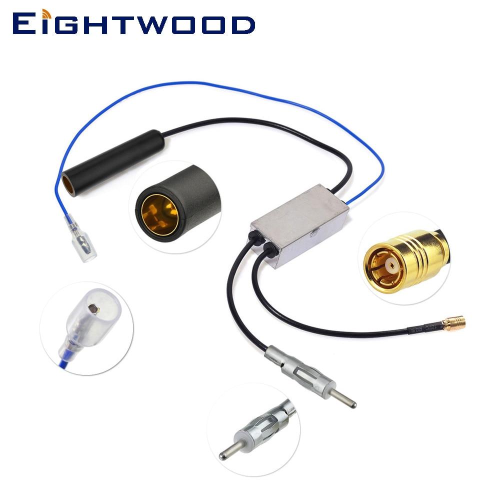 Eightwood Auto DAB + AM/FM De Voiture Antenne Radio Antenne Splitter DIN 41585 Femelle à Mâle et SMB Aftermarket câble de Conversion
