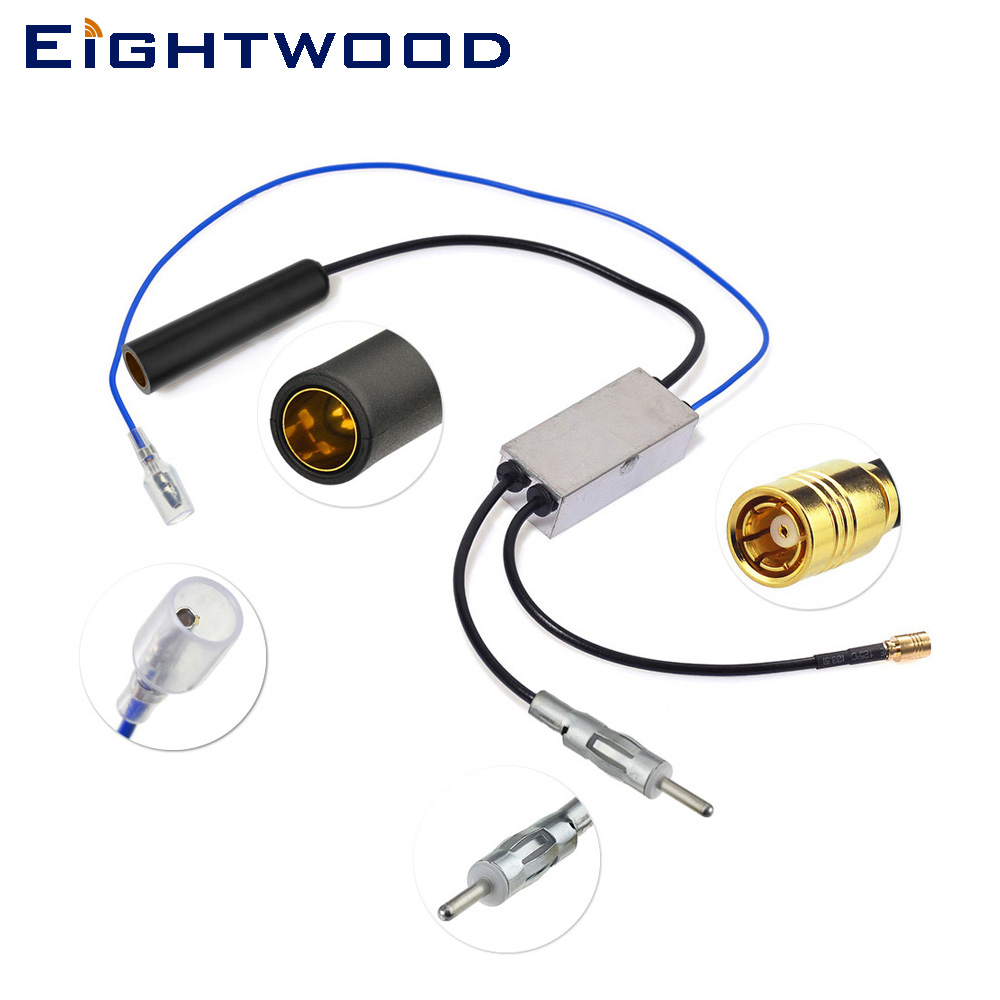 Eightwood Auto DAB+ AM/FM Car Radio Aerial Antenna Splitter DIN 41585 Female to Male and SMB Aftermarket Conversion Cable eightwood dab dab auto radio aerial amplified roof mount antenna am fm din sma male connector 5m cable for autodab radio