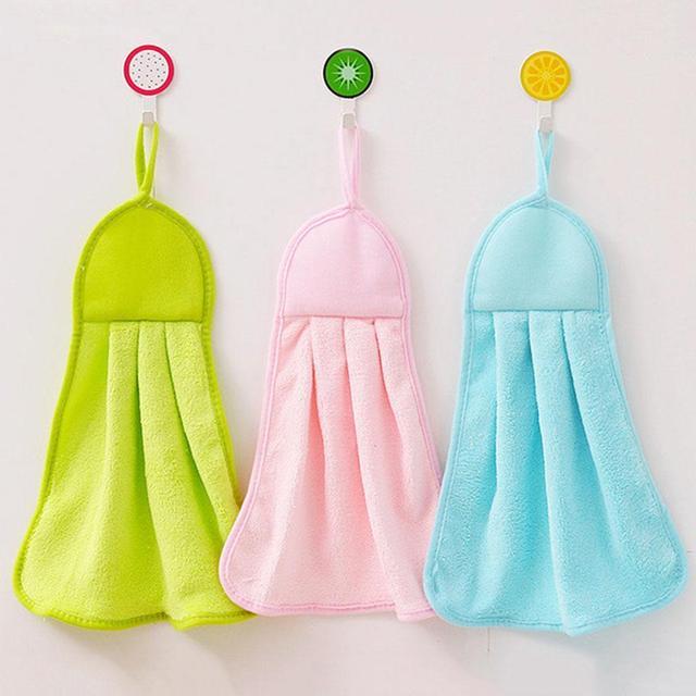 Asciugatura rapida di Pulizia Morbido Asciugamano Appeso A Mano di Velluto Bagno