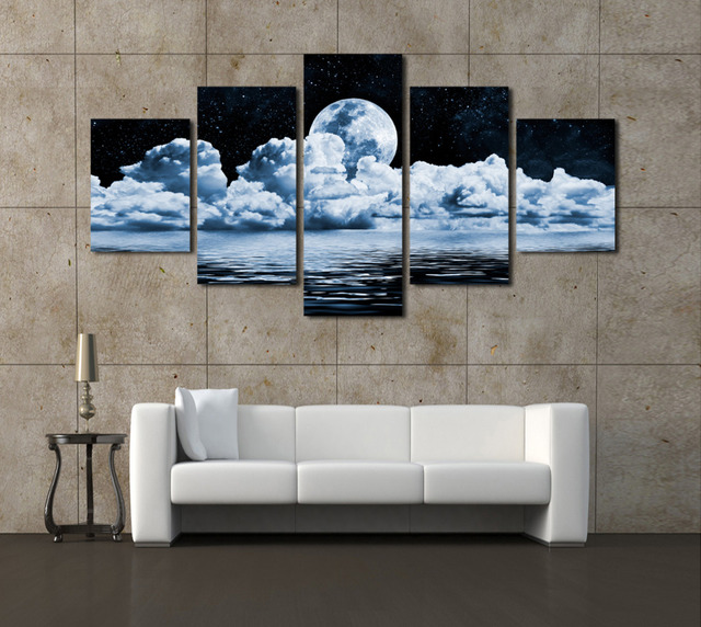 2017 sale paintings cheap wall frames 5 panels moon canvas print