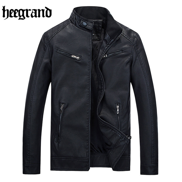 HEE GRAND 2017 Casual Leather Jacket Male Solid Fashion Leather Coats High Quality Leather Jackets MWP411