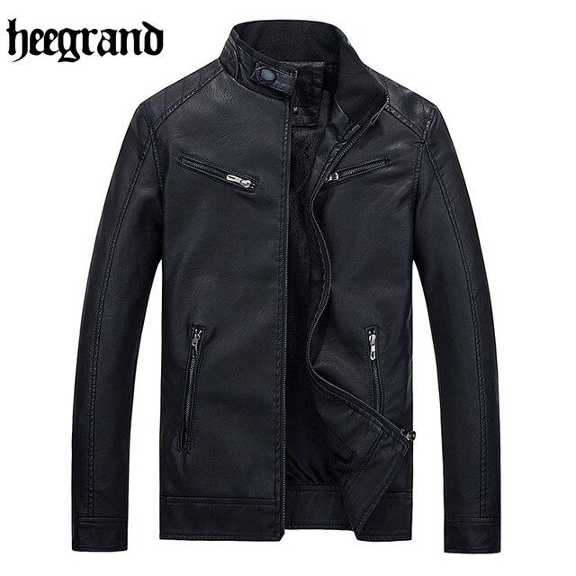 Hee grand 2017 ocasional masculina chaqueta de cuero chaquetas de cuero abrigos de cuero de moda de alta calidad sólido mwp411
