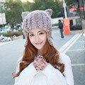 De lujo de Piel Sombreros de Invierno Para Las Mujeres Encantadoras Orejas de Gato Hembra Sombrero de Punto Gorros Gorras 2017 Nueva Moda de Buena Calidad