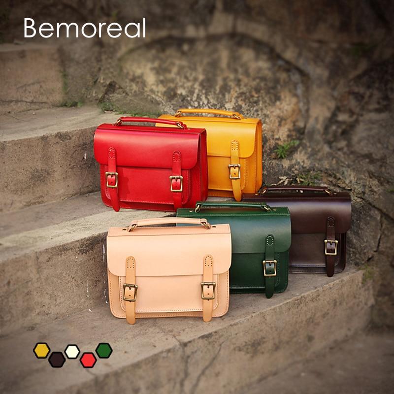 Bemoreal Messenger Bags Women Genuine Leather Vegetable tanned Casual oil wax Cow Shoulder Bag Vintage Satchels
