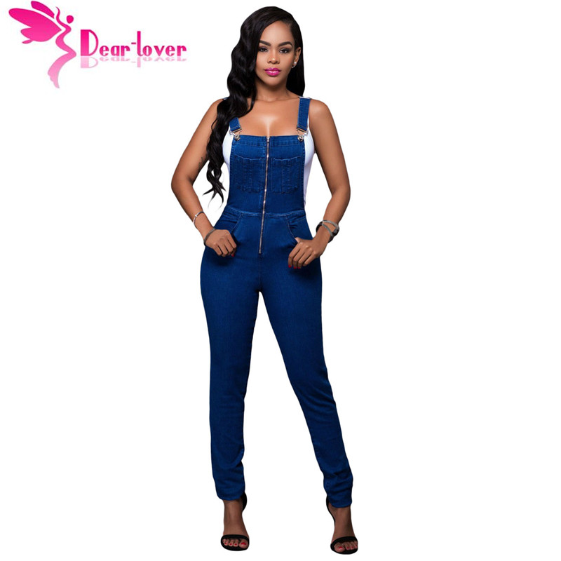 d378be4b35 Dear Lover Fashion suspender trousers Jumpsuit Jeans for Women Trendy Denim  Wash Overall Casual Skinny Ladies Long Pants LC64173-in Jumpsuits from  Women s ...
