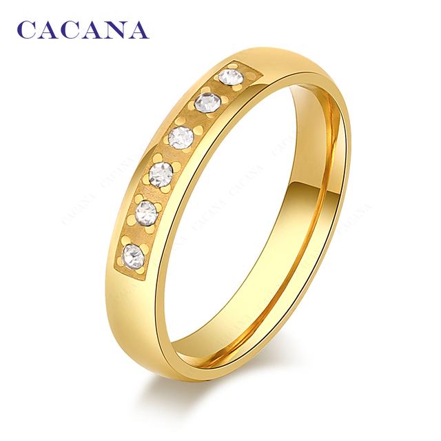 CACANA Titanium Stainless Steel Rings For Women Five CZ With Petal Fashion Jewel