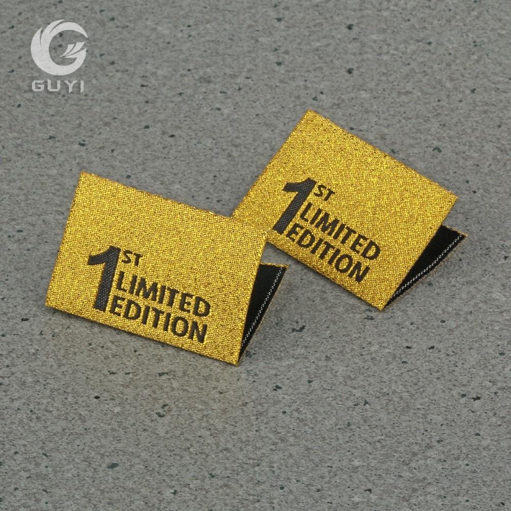 1000pcs Luxury Metallic Gold clothing main label private brand Label garment Logo label washable Neck label