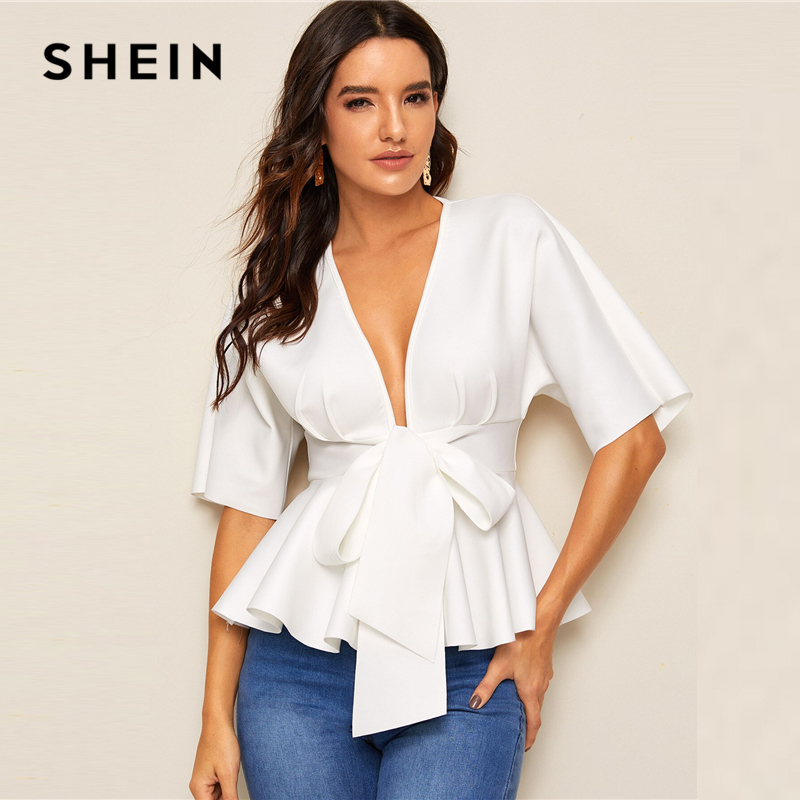 SHEIN Plunge Neck Tie Waist Peplum Top White Solid Slim Fit Womens Tops And Blouses Sexy Deep V Neck Summer Short Sleeve Blouse