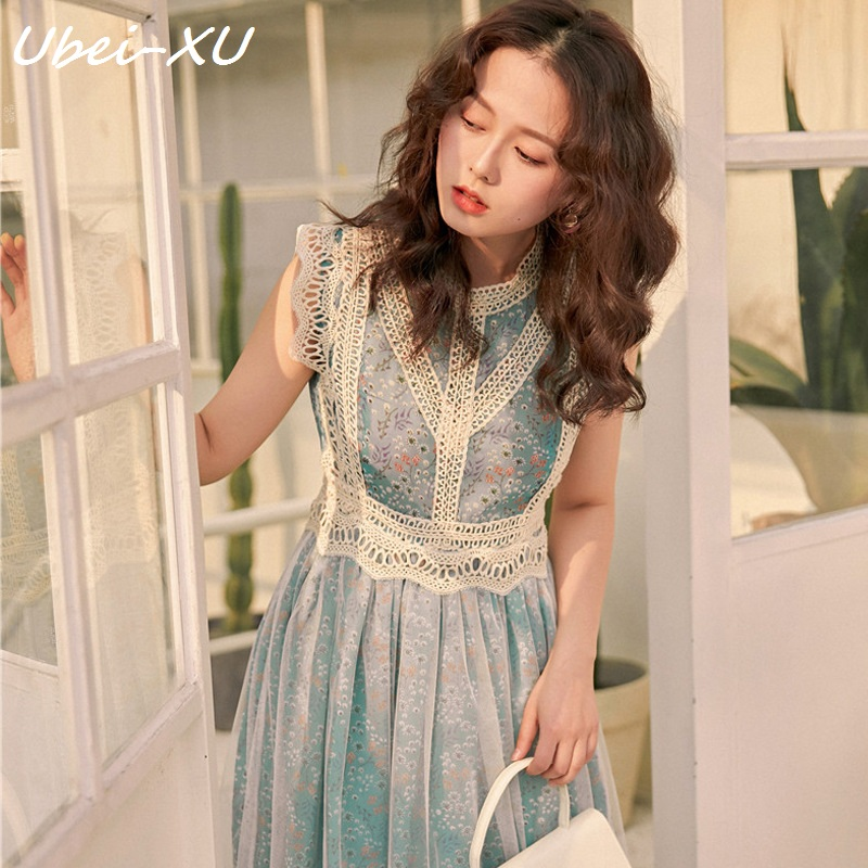 Ubei French romantic hollowed out lace small floral fantasy mesh sleeveless vest dress very fairy blue print long dress