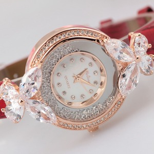 Image 3 - Bowknot Crystal Clock Lady Womens Watch Hours Japan Quartz Fashion Bracelet Leather Shell Luxury Rhinestones Girls Gift Box