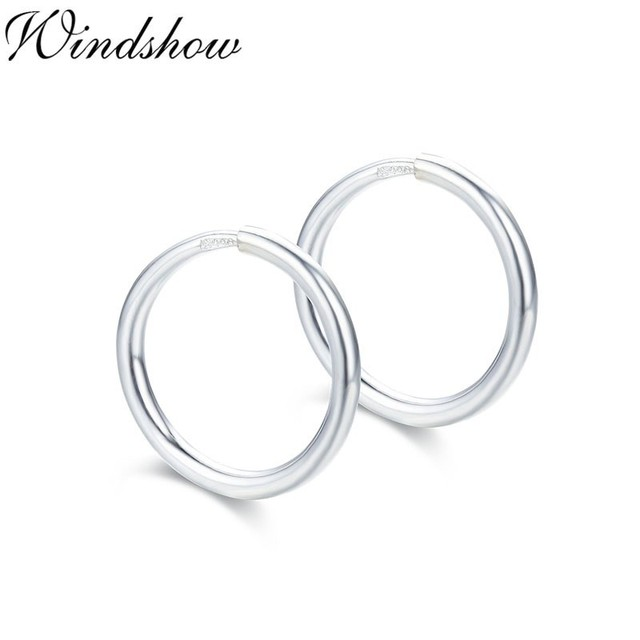 Real 990 Sterling Silver Round Creoles Circles Slim Small Endless Hoop Earrings For Women Baby S