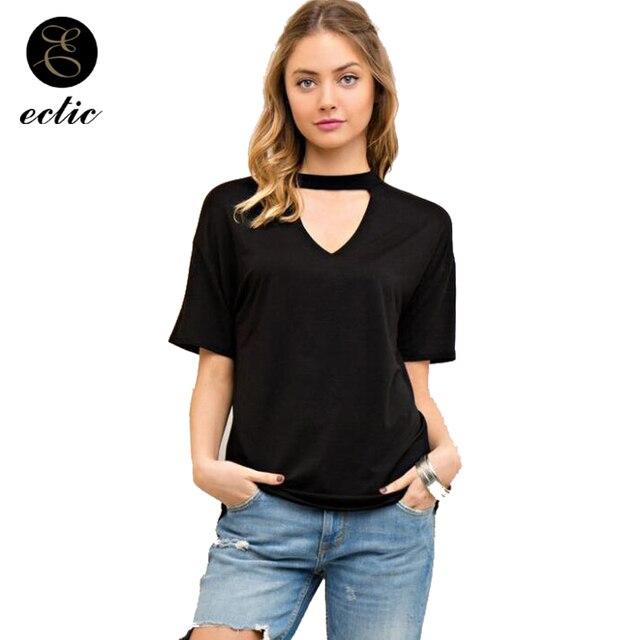 70cd3f9c5 Choker Neck Top Vetement Femme 2019 Fashion Black Plain T Shirt Woman Solid  Color Short Sleeve Plain White Tshirt Tumblr Bts Nct