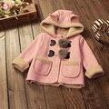 2 cores de alta qualidade Do Bebê Meninas Casacos de Inverno com chapéu Dos Desenhos Animados para o Bebê recém-nascido casaco parka com capuz crianças roupas infantis