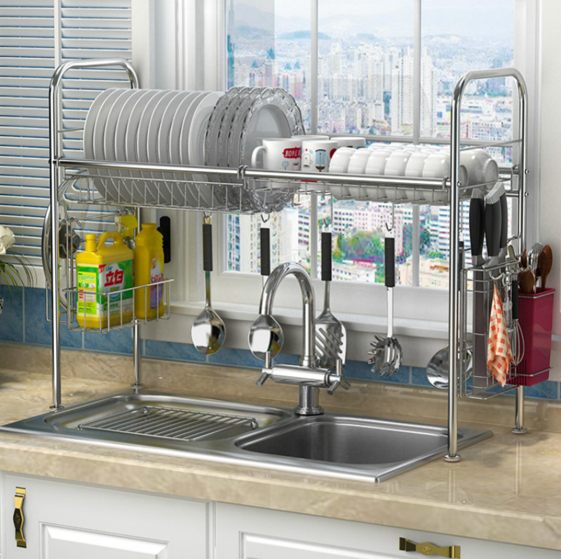 US $37.31 29% OFF|304 stainless steel dish rack sink drain rack kitchen  rack supplies storage rack pool to dry dishes dish shelf-in Racks & Holders  ...