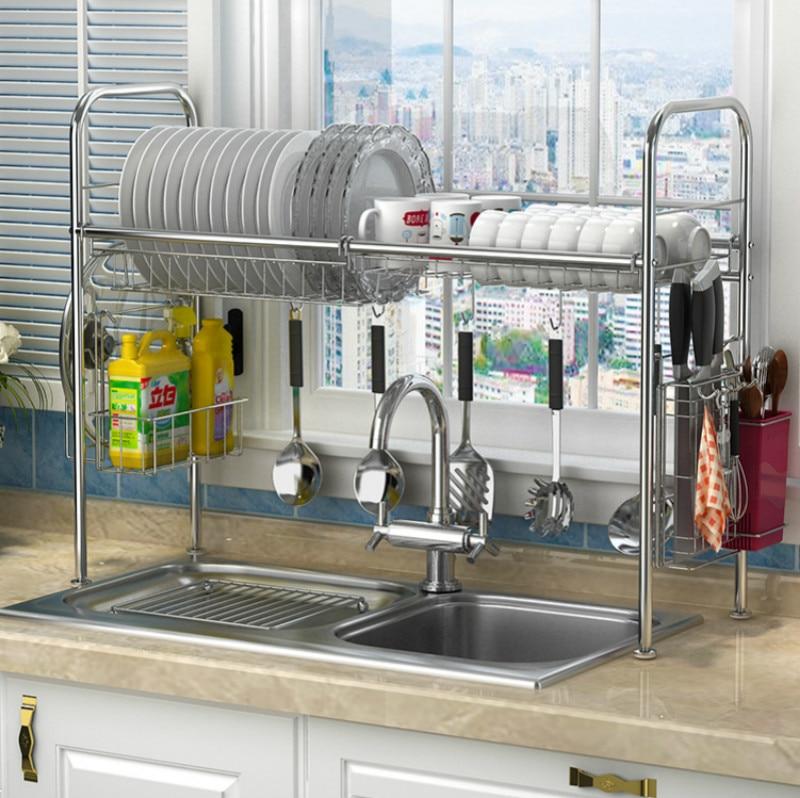 304 stainless steel dish rack sink drain rack kitchen rack supplies storage rack pool to dry dishes dish shelf