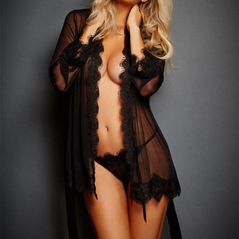 044e525b7e1 Sexy V Neck Babydoll Ladies See Through Bath Robes Sleepwear Women with G  string Lace Sheer Night Dress Lingerie Robes-in Robes from Underwear    Sleepwears ...