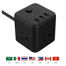 Tessan Portable  Power Strip with 3 USB Port & 1 US Plug, 3 US Outlet Charging Station with 5 Ft Extension Cord for USA Socket