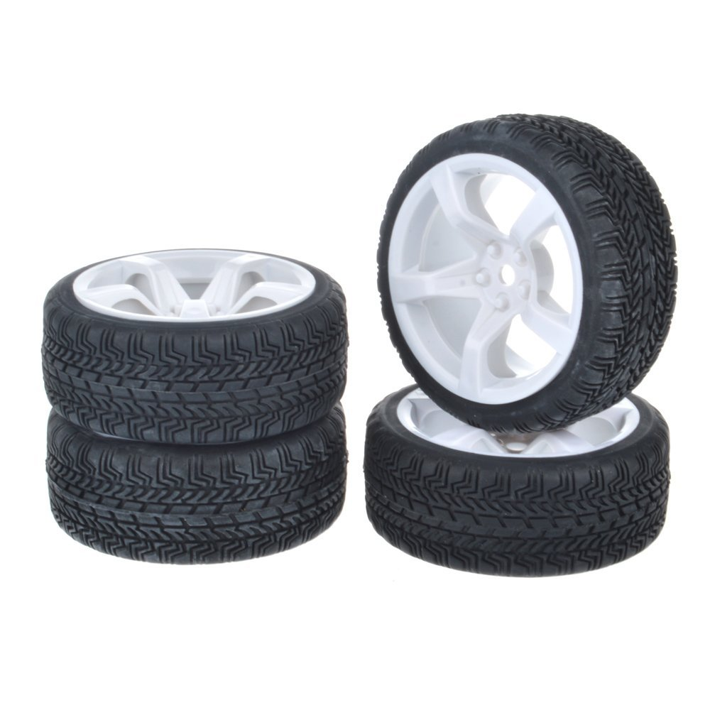 1:10 Racing Car On Road 5 Spoke White Wheel Rim &Tires for HSP Tamiya HPI Kyosho 1/10 RC On-Road Car