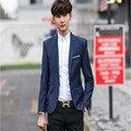 2016 Otoño Nuevos Hombres Coreanos hombres Delgados A Cuadros Informal Traje de Un Solo pecho Chaqueta de Esmoquin Vestido de la Marea Camisa Masculina boda