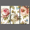 Big Size 3 Pcs/set Flowers Decoration Red Pink Rose Canvas Painting Wall Art Pictures For Living Room Home Decor Unframed