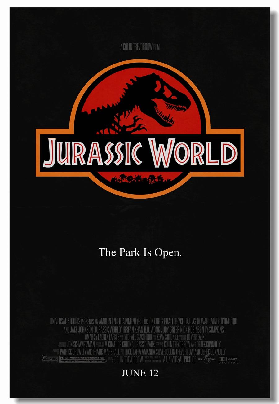 Custom Canvas Wall Painting Movie Jurassic World Poster Jurassic Park Wall Sticker Mural Dinosaur Wallpaper Office Decals #0434#