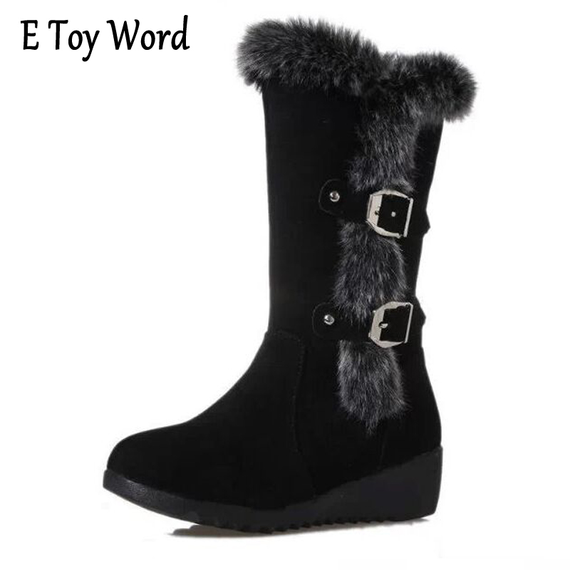 E TOY WORD Women Snow Boots High Heel Boots Women 2017 botas mujer Warm Women Winter Boots Wedges Martin Boots Shoes Woman e toy word boots women fashion autumn martin boots warm women shoes ankle boots for women winter botas mujer wedges ankle boots