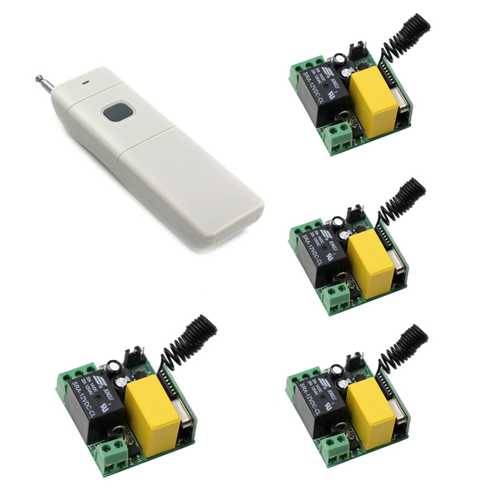 Promotion AC220V High Power Wireless Remote Control Switch System 4pcs Receivers and Transmitter Learning Code Long Range 2 receivers 60 buzzers wireless restaurant buzzer caller table call calling button waiter pager system